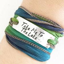 Clair Ashley TAKE ME TO THE LAKE Silk Wrap BRACELET WC13 Blue Green Ribbon