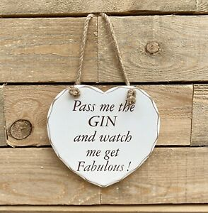 White Wooden Gin & Tonic Fabulous Humour Hanging Plaque Sign Novelty friend Gift