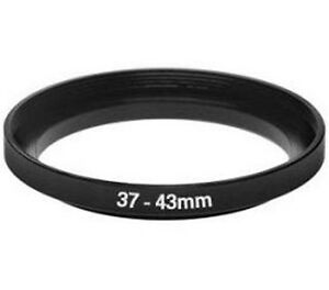 Filter Step Up Ring Adapter for 37mm to 43mm 37-43mm Black Anodized metal