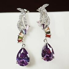 18K White Gold Plated Cubic Zirconia Angel Wing Teardrop Purple Earrings