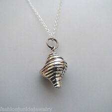 Conch Shell Charm Necklace - 925 Sterling Silver - Nautical Beach Ocean Shells