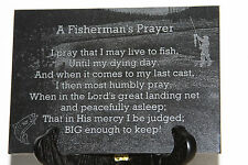 "Fisherman's Prayer 5""x7"" black marble plaque laser engraved fishing in stream"