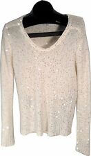 MUCHE ET MUCHETTE WHITE SPARKLING SHEER BLOUSE SWEATER ONE SIZE (FITS MOST) (B)