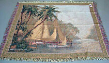 Leaving Out ~ Sailboat & Palm Trees Tapestry Afghan Throw