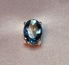 1 CT OVAL SWISS BLUE TOPAZ MENS SILVER TIE TACK PIN CREATED STONE