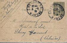 ENTIER  POSTAL  CARTE  POSTALE  TYPE SEMEUSE 1918 CHERBOURG