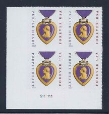 Purple Heart and Ribbon - Scott #5035 Plate Block of 4 Stamps MNH