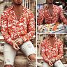 Mens Long Sleeve Printed Casual Hawaiian Beach Blouse Slim Shirt Muscle Tops Tee