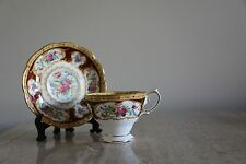 Vintage Royal Albert Bone china Lady Hamilton burgandy footed Cup &saucer (75)
