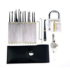 New Transparent Practice Padlock With 15 PC Pick Set Training Tool Set Locksmith