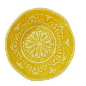 "Melamine Serving Dish Fruit Bowl Yellow Fiesta Design 12""D x 4.5"" H Curved Edges"