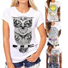Ladies Fashion Boho Casual Summer Short Sleeve Cartoon Cotton T-Shirt Blouse Top