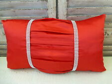 Red pleated rhinestone rectangular cushion cover