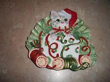 1025 Fitz & Floyd Kitty Kringle Christmas Wrap Plate Cat Dish