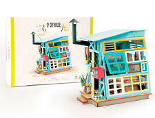 Robotime Diy Wooden Hut with Furniture Miniature Doll House Model Building Kits