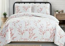 Great Bay Home Sakura Collection 3 Piece Quilt Set with Shams. Reversible Floral