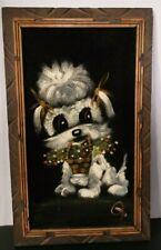 Vtg Black Velvet Little Dog Flower Basket Framed Signed Handpainted Oil Painting