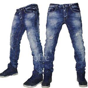 Jeans uomo Denim strappati pantaloni slim regular comfort vita bassa  nuovo 8119