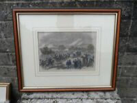 Old antique engraving print - The battle of Bull run - American civil war
