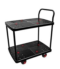 Uni-Silent Ultra Silent Platform Truck Double Tray Service Cart 330 LBS