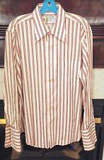 Vintage The Arrow Collar Man Shirt 1960's Maroon stripes 16 1/2 - 33