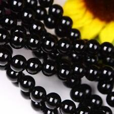 AAA 8mm Black Agate Onyx Round Loose Beads Gemstone 15""