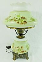 Vintage Hand Painted FLOWERS Gone With The Wind GWTW Hurricane Parlor Table Lamp