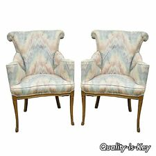 Pair of Vintage French Hollywood Regency Rolled Fireside Parlor Lounge Arm Chair