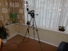 VERY UNUSUAL TRIPOD STANDARD LAMP. MADE FROM VINTAGE PHOTOGRAPHIC EQUIPMENT.