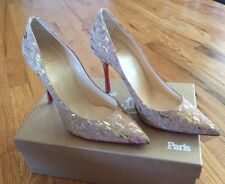 New Christian Louboutin Decoltish 100 Cork Nude Beige Liege Lame 37 7 Heels Pump