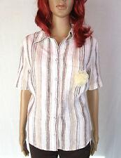 CANDA C&A Designer Womens Vtg Striped Linen Casual Short Sleeve Shirt sz 20 AO9
