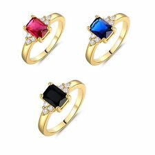 24k yellow gold filled Radiant black Topaz Solitaire with Accents ring Sz5-Sz9