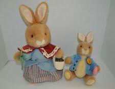 Vintage Eden Beatrix Potter Plush Stuffed Rabbits Peter Rabbit & Mrs Rabbit