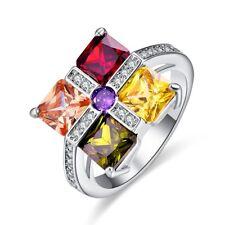 2018 New Fashion Valentines Gift Silver Ring Multi-Gemstones Women Jewelry