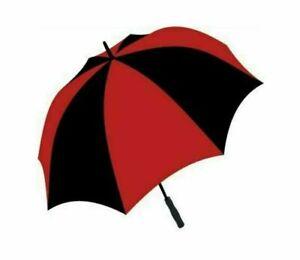 Large Golf Umbrella Windproof Lightweight Fibreglass Frame & Shaft - Red & Black