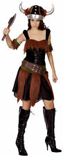Ladies storico Viking bodicia Tema Costume Nero & Brown UK 10-14