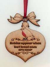 Christmas Robin Bauble When Robins Appear Tree Decoration Memorial Ornament