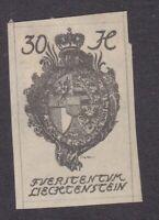 Liechtenstein 1920 - 30H Grey Imperf - SG25 - Mint Hinged (E23E)