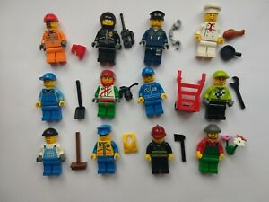 LEGO City Minifigures and Accessories Bundle, Builders, Police, Chef, Drivers
