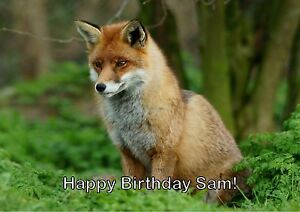 Fox Cute Animals Personalised Printed Birthday Cards Foxes