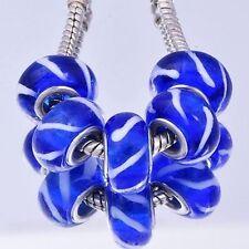 5pcs White Lampwork Navy Blue Murano Glass Bead Fit European Chain Bracelet