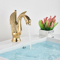 Gold  waterfall Bathroom Basin Sink Faucet Single Handle Mixer Tap Swan Design