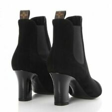 65136624524 LOUIS VUITTON NWOB Booties Boots Shoes Ankle Suede Black Size 37 US 7 Italy
