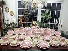 edles umpfangreiches Speiseservice Spode Copeland pink Tower  65 teilig 12 Pers.
