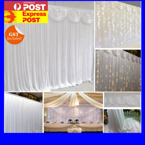 Wedding Party Stage Backdrop Stand Drape Sheer Satin Curtain Photo Background