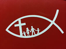 CHRISTIAN FISH JESUS FAMILY CROSS CHURCH RELIGION GOD DOOR CAR VAN BIKE STICKER
