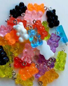 Pack of 10 Random Mix Resin Teddy Gummy Bear Pendant Charms 21mm Sweet