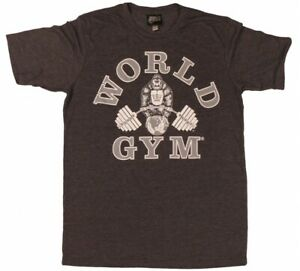 W158 World Gym Muscle Tee Shirt Bodybuilding Training Workout Gym
