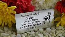 PERSONALISED ENGRAVED PET MEMORIAL PLAQUE STAFFY DOG SILVER 10X5CM (A03)