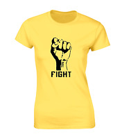 FIGHT FIST SILHOUETTE LADIES T SHIRT COOL DESIGN PROTEST REBELLION POWER TOP NEW